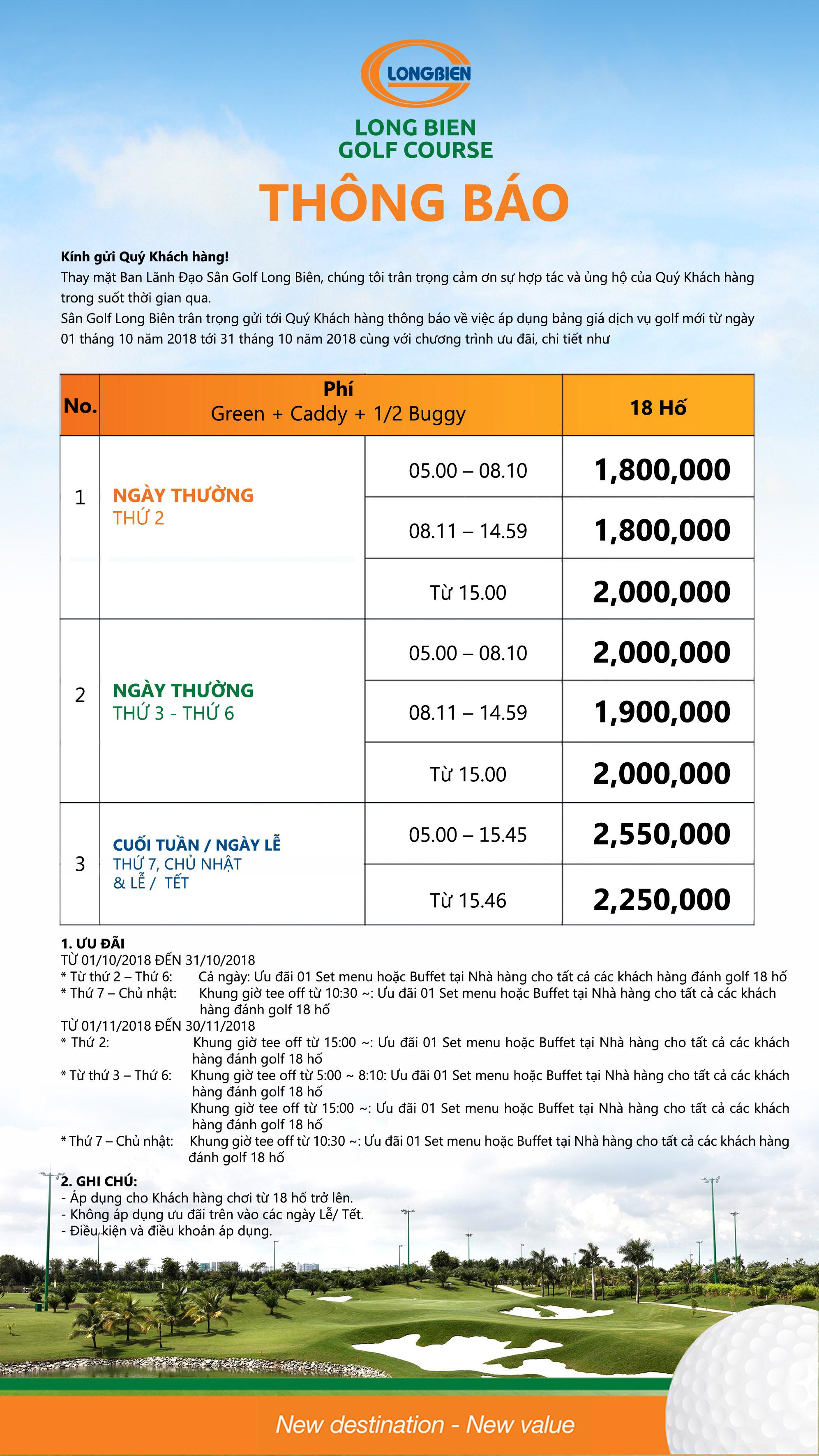 SÂN GOLF LONG BIÊN THÔNG BÁO BẢNG GIÁ GOLF ÁP DỤNG TỪ 01/10/2018 - 31/10/2018